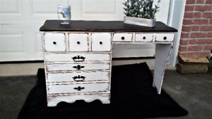 Wood desk/ vanity, shabby chic