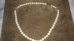 "Birks 18"" pearl necklace, never worn, original box,"