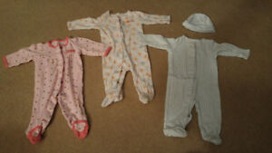 Sleepers for baby girl, 3 months (7 PJs & 1 hat)