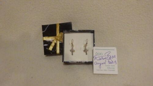 Kilkenny Handwrought Silver Celtic Irish Cross Earrings-Hook-Closure Backing NEW