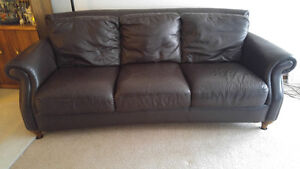 REDUCED!! NATUZZI ALL LEATHER SOFA, CHAIR, OTTOMAN