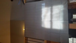Grey panel curtains