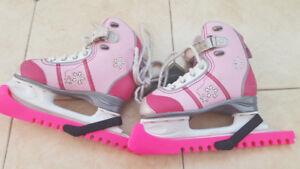 Girls pink skates yth sz 1