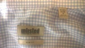 Kenneth Cole REACTION Mens Unlisted Slim Fit Check Spread Collar