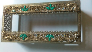 Vintage Gold Filigree Tissue Box Holder Hollywood Regency