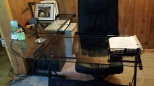 glass computer table and chair