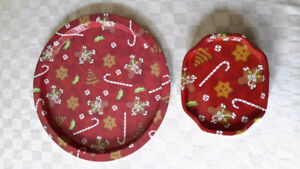 Christmas Cookies metal serving tray & 16 mini appetizer trays.