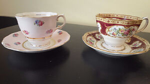 Colclough and Royal Albert Teacups - Wine, Gold, Pink & White