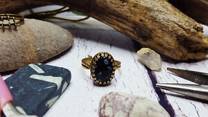 Oval Crown Ring ~ Snowflake Obsidian Adjustable Bronze Ring