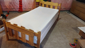 Single bed frame box spring and mattress