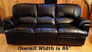 BLACK LEATHER DOUBLE RECLINER