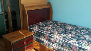 Twin Bed Set w/mattress, boxspring and nite table