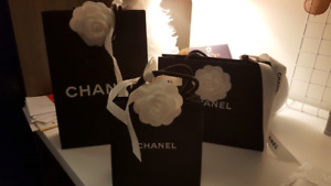 Chanel paper bags with camilia