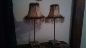2 fringed and beaded table lamps
