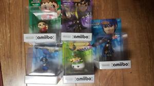 5 New in box Super Smash Bros. Amiibo