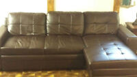 Leather pullout couch (costco)- Great for a student or rec room.