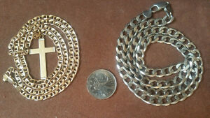 White/yellow gold cross and silver chain for sale