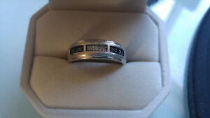 Mens white gold wedding band with white and black diamonds