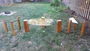 Handmade upcycled hardwood and glass coffee and end tables