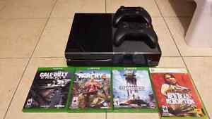Xbox one console with 2 controllers and games