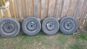 """4 - 15"""" 195/65/15 steel wheels VW 5x112 with tires"""
