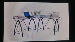 L shaped glass computer table