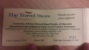 Raffle Tickets for $3000 to PEI Travel Store!