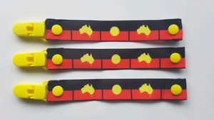 Aboriginal flag dummy soother pacifier clips