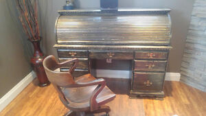 Roll Top Desk with Antique Chair