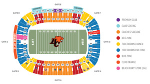 BC LIONS V EDMONTON ESKIMOS + FRONT ROW @ 46-49 YARD + UP TO SIX