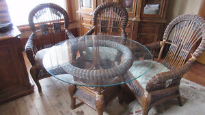 Bocca Rattan Round Glass Table w/ 4 Chairs
