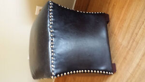 Black Faux Leather Studded Foot Stool