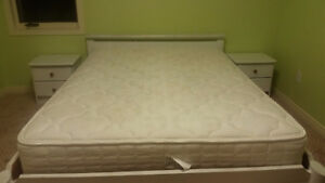 Clean Double Solid wood bed with mattress comes &2 side table