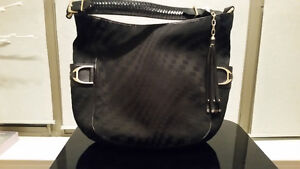 COLE HAAN Black Canvas Hobo Handbag