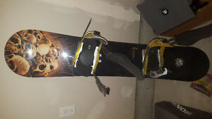Forum Destroyer snowboard with drake matrix bindings and forum