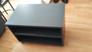 tv stand with wheels. black, great condition, just $60