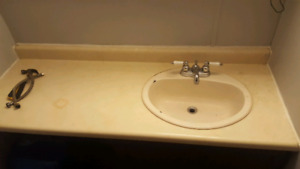 Used kitchen counter sink and fauset