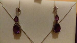 Purple Stone and Diamond Necklace with matching Earings**