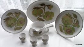 Denby Troubador Plates, egg cups. gravy boat/sauce boat and saucer all pristine