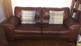Brown leather 2 and 3 seater sofa with footstool/ storage