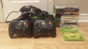 * Original Xbox Bundle 12 Games 2 Controllers all Cords TESTED *