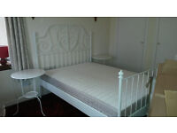 """White IKEA metal framed double bed """"Leirvik"""" 140 pounds with mattress (90 without)"""