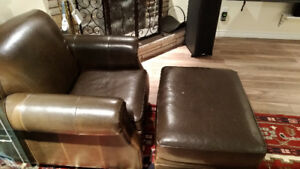 Kincaid (a lazyboy company) bonded leather chair and ottoman