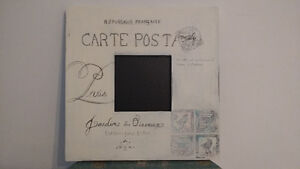 French postcard chalkboard in distressed white West Island Greater Montréal image 1