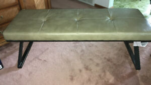 Taupe Leather and Brass Bench
