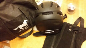 Horse riding helmet and Youth lrg chaps