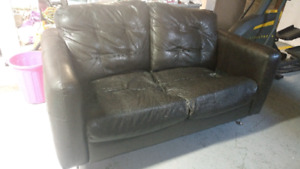 Free brown leather loveseat
