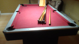 Pool table a few mark's in felt but still able to play on