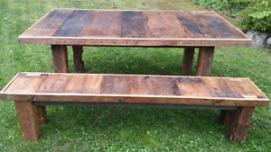 Harvest table and matching bench, reclaimed barn wood