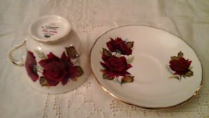 BONE CHINA CUP AND SAUCER,  BURGUNDY ROSES, ROYAL VALE